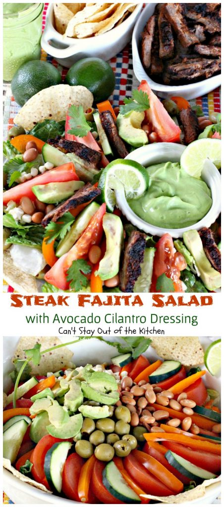 Steak Fajita Salad with Avocado Cilantro Dressing | Can't Stay Out of the Kitchen