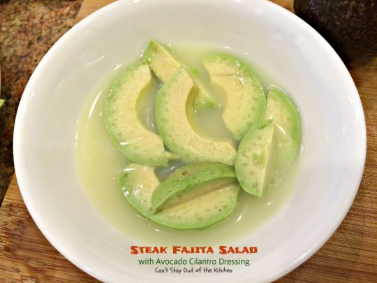Steak Fajita Salad with Avocado Cilantro Dressing | Can't Stay Out of the Kitchen | this mouthwatering #Tex-Mex #salad has an amazing #avocado #cilantro salad dressing.