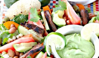 Steak Fajita Salad with Avocado Cilantro Dressing