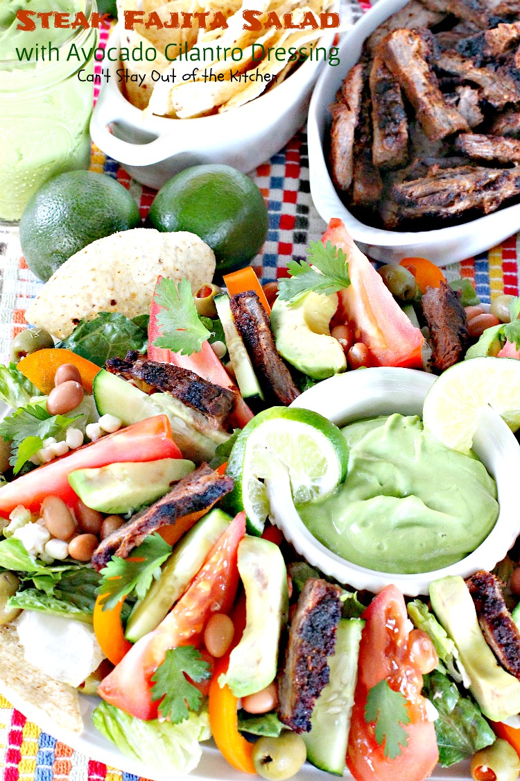 Steak Fajita Salad with Avocado Cilantro Dressing