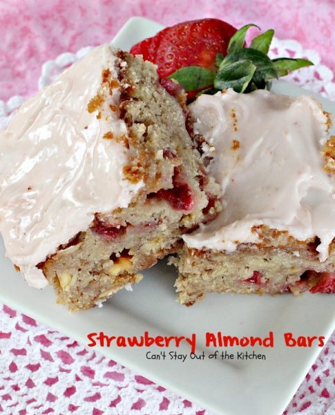Strawberry Almond Bars | Can't Stay Out of the Kitchen | these luscious bars are made with #strawberries #almonds and #vanillachips and the icing is to die for! #dessert #cookie