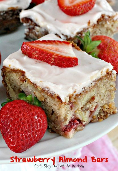 Strawberry Almond Bars | Can't Stay Out of the Kitchen