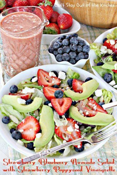 Strawberry Blueberry Avocado Salad with Strawberry Poppyseed Vinaigrette | Can't Stay Out of the Kitchen