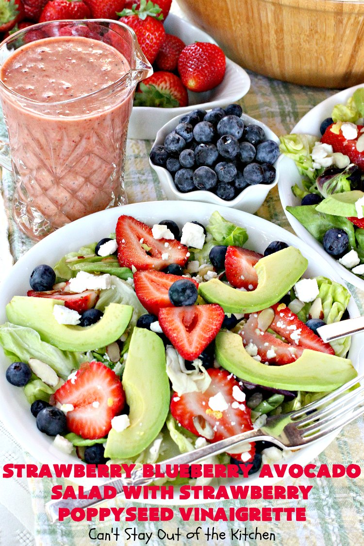 Strawberry Blueberry Avocado Salad with Strawberry Poppyseed Vinaigrette