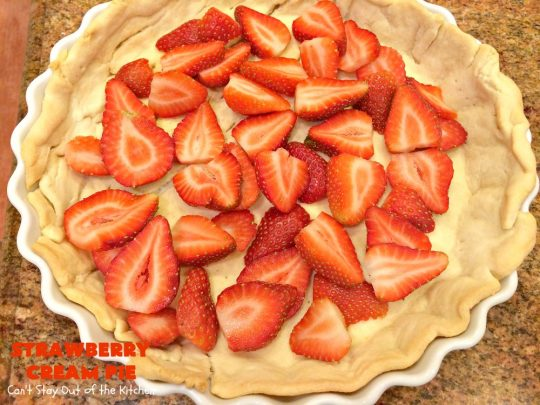 Strawberry Cream Pie | Can't Stay Out of the Kitchen | this family favorite #strawberry #pie is perfect for the #FourthofJuly. Everyone always asks for seconds! #dessert