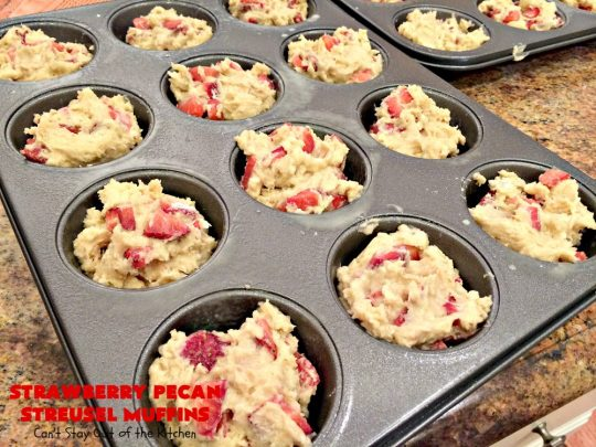 Strawberry Pecan Streusel Muffins | Can't Stay Out of the Kitchen | these fantastic #muffins are filled with #strawberries. They have a #pecan #streusel topping. Then they're glazed with vanilla icing. They're the perfect treat for a company or #holiday #breakfast like #FathersDay. Everyone always raves over them. #BreakfastMuffins #StrawberryMuffins #StrawberryPecanStreuselMuffins