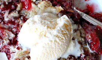 Strawberry Rhubarb Dump Cake Cobbler