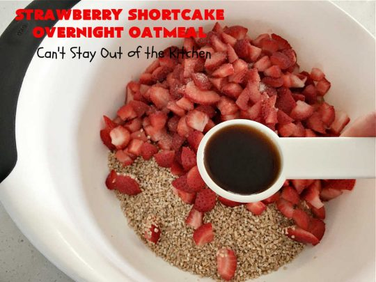 Strawberry Shortcake Overnight Oatmeal   Can't Stay Out of the Kitchen   Add a touch of #StrawberryShortcake to your morning #breakfast routine with this delightful #OvernightOatmeal #recipe. It's #healthy, #vegan, #GlutenFree, #SugarFree & cooks up in the #SlowCooker so it's really easy. #crockpot #oatmeal #SteelCutOats #holiday #HolidayBreakfast #StrawberryShortcakeOvernightOatmeal