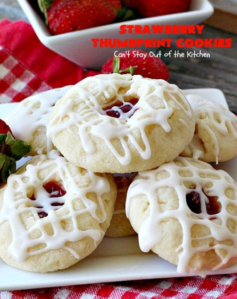 Strawberry Thumbprint Cookies | Can't Stay Out of the Kitchen | these kid-friendly #cookies are perfect for any kind of #holiday, family reunion, backyard BBQ, or other parties. So delicious. #dessert #strawberry
