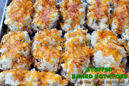 Stuffed Baked Potatoes | Can't Stay Out of the Kitchen | these wonderful #potatoes use two cheeses--#cheddar & #parmesan. They're filled with flavor and terrific for company or #holiday dinners like #Easter or #MothersDay. #StuffedBakedPotatoes #GlutenFree #SideDish #DoubleStuffedBakedPotatoes #casserole #HolidaySideDish