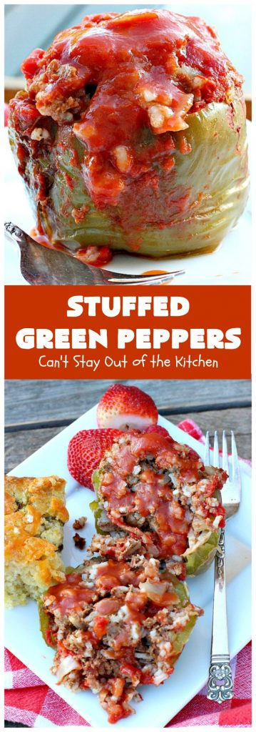 Stuffed Green Peppers | Can't Stay Out of the Kitchen | this delicious vintage #recipe is a family favorite. #BellPeppers are stuffed with #GroundBeef & #rice & covered with #TomatoSauce & a pinch of brown sugar. The slightly sweet & savory taste is so mouthwatering. Delightful comfort food entree. #StuffedGreenPeppers #GlutenFree