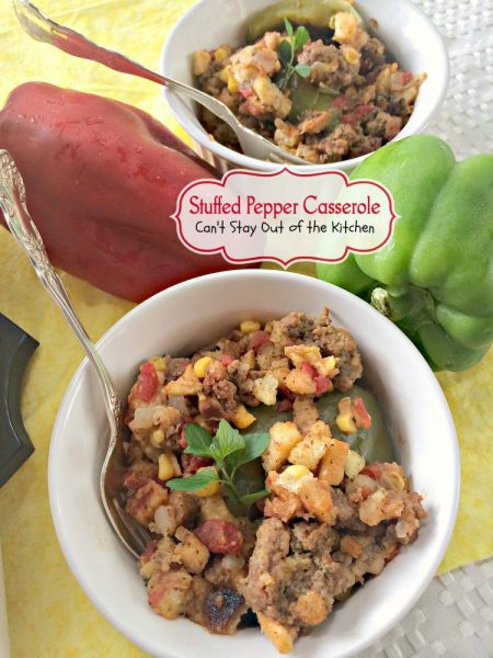 Stuffed Pepper Casserole | Can't Stay Out of the Kitchen | lovely #GooseberryPatch recipe. This layered #bellpepper #casserole uses #stuffing instead of rice. #beef