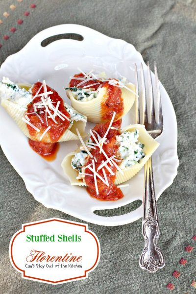 Stuffed Shells Florentine | Can't Stay Out of the Kitchen | these amazing #pasta shells are stuffed with #spinach, #ricotta and #parmesan #cheeses and covered with #Italian #spaghettisauce. #MeatlessMondays