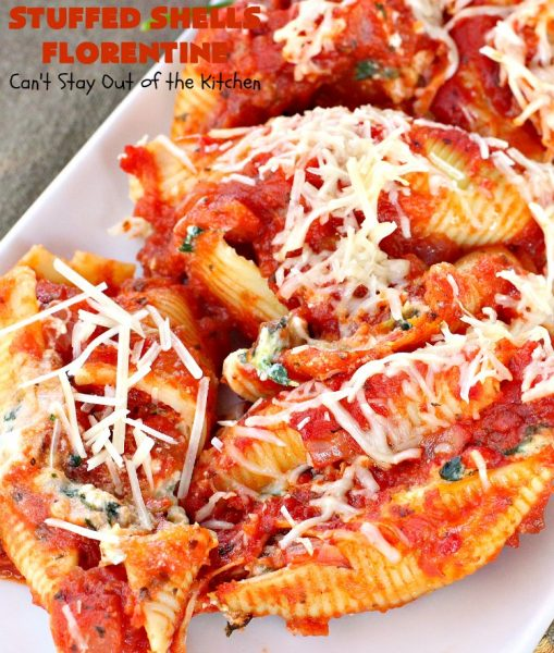 Stuffed Shells Florentine | Can't Stay Out of the Kitchen | We love this fantastic #pasta #recipe. Jumbo shells are stuffed with a #RicottaCheese, #ParmesanCheese  & #spinach filling. Then they're baked with #SpaghettiSauce poured over top. More #parmesan is added before serving. Terrific for company too. #MeatlessMondays #StuffedShells