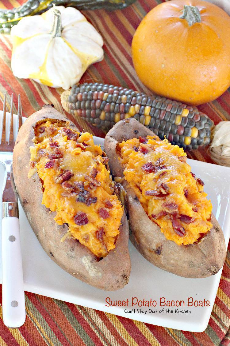 Sweet Potato Bacon Boats | Can't Stay Out of the Kitchen | sensational #sweetpotato recipe is LOADED with #bacon and #cheese. Great for #thanksgiving and #holiday menus. #glutenfree #veggie