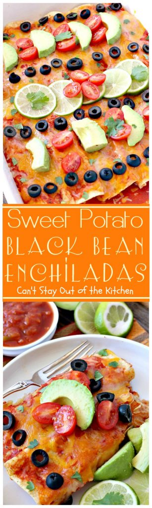 Sweet Potato Black Bean Enchiladas | Can't Stay Out of the Kitchen | these #enchiladas are absolutely awesome. Great #TexMex #MeatlessMonday recipe. #glutenfree #blackbeans #sweetpotatoes