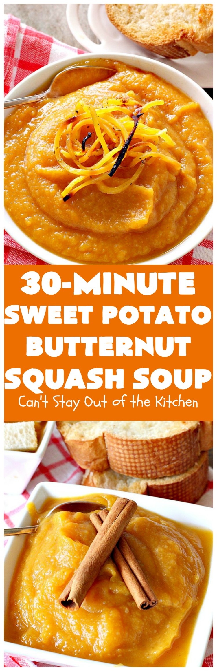Sweet Potato Butternut Squash Soup | Can't Stay Out of the Kitchen | this delectable 30-minute #soup is amazing comfort food. It's terrific for cold, winter days. It's healthy, #glutenfree & #vegan. #apples #butternutsquash #sweetpotatoes