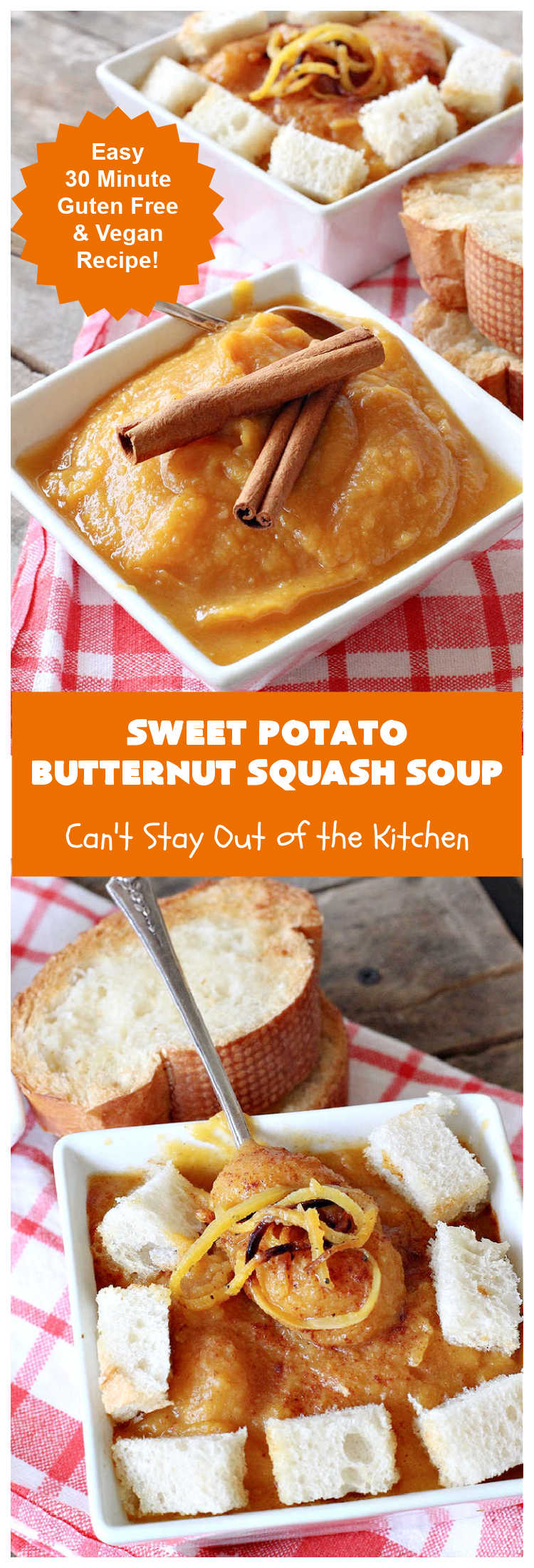 Sweet Potato Butternut Squash Soup | Can't Stay Out of the Kitchen | this delectable 30-minute #soup is amazing comfort food. It's terrific for cold, winter days. It's healthy, #GlutenFree & #vegan. #apples #ButternutSquash #SweetPotatoes #ginger #SweetPotatoSoup #ButternutSquashSoup #SweetPotatoButternutSquashSoup
