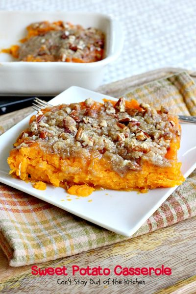 Sweet Potato Casserole | Can't Stay Out of the Kitchen | This amazing #casserole is always one of our most requested #holiday #sidedishes. Everyone loves the souffle texture and #praline topping. #sweetpotatoes