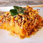 Sweet Potato Casserole with Coconut Praline Topping | Can't Stay Out of the Kitchen | this quick & easy side dish uses only 8 ingredients making it so easy for the #holidays. Perfect for #Christmas dinner. The topping includes #coconut, #pecans & #CornFlakes! So, so good. #SweetPotatoes #SweetPotatoCasserole #casserole #sidedish #HolidaySideDish #ChristmasSideDish #EasyHolidaySideDish