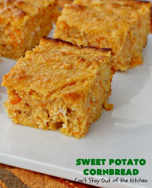 Sweet Potato Cornbread | Can't Stay Out of the Kitchen | this fantastic #cornbread includes #SweetPotatoes for a delightfully #southern spin on traditional cornbread #recipes. This #healthy version is #GlutenFree & #CleanEating. Terrific #SideDish for company or #holiday menus like #FathersDay. We enjoy it for #Breakfast as well as dinner. #SweetPotatoCornbread