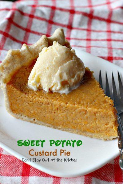 Sweet Potato Custard Pie | Can't Stay Out of the Kitchen | this heavenly #sweetpotato #pie is divine! No kidding. This one includes almond extract and #marshmallowcreme. Great for the #holidays. #dessert