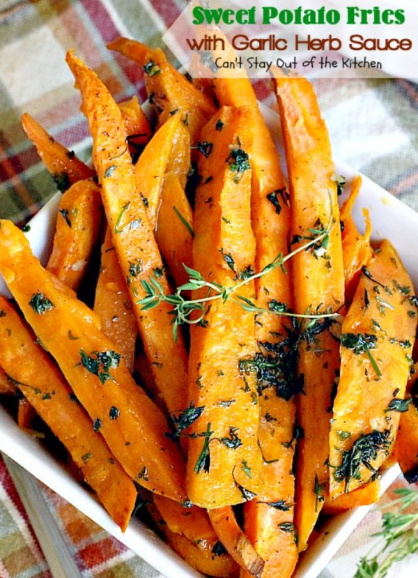 Sweet Potato Fries with Garlic Herb Sauce | Can't Stay Out of the Kitchen | these delectable #sweetpotatoes are a wonderful #sidedish for any meal. Great #holiday #casserole, too. #glutenfree #vegan #cleaneating