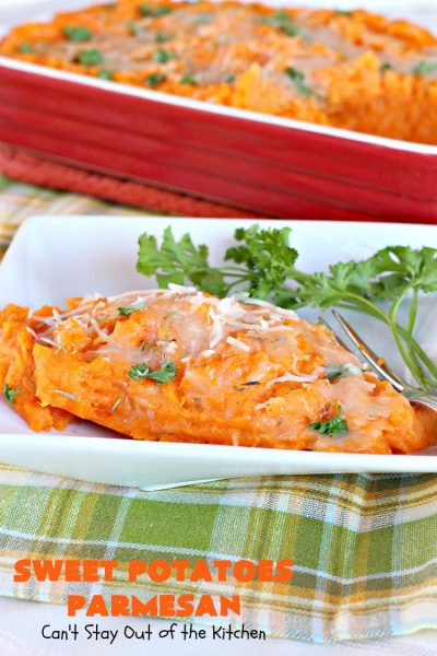 Sweet Potatoes Parmesan | Can't Stay Out of the Kitchen | this is one of our favorite savory #sweetpotato #casseroles. It's filled & topped with #parmesancheese. Great for #Thanksgiving or #Christmas.