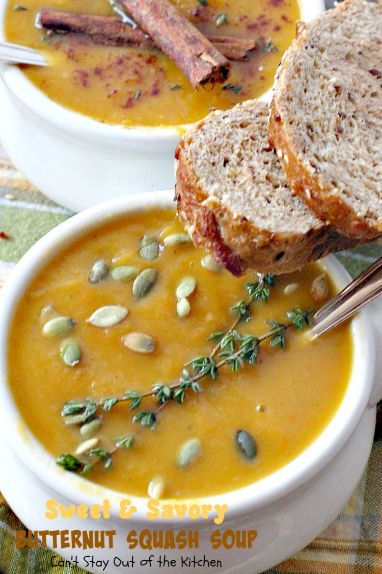 Sweet and Savory Butternut Squash Soup | Can't Stay Out of the Kitchen | this delicious #soup is wonderfully comforting. It's filled with veggies & #butternutsquash for a healthy, clean eating #glutenfree & #vegan recipe you will enjoy down to the last drop!