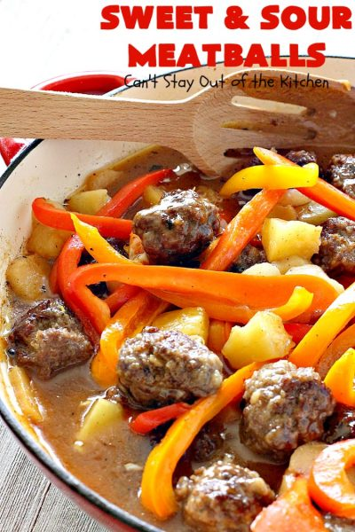 Sweet and Sour Meatballs | Can't Stay Out of the Kitchen | this #meatball entree is awesome! It's made with a delicious sweet & sour sauce & filled with bell peppers, #pineapple & water chestnuts. Served over #rice, this is the perfect weeknight meal. #beef #glutenfree