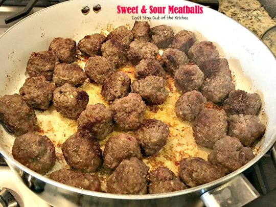 Sweet and Sour Meatballs | Can't Stay Out of the Kitchen | delightful way to serve #meatballs. I used #glutenfree breadcrumbs and served over #rice. #beef
