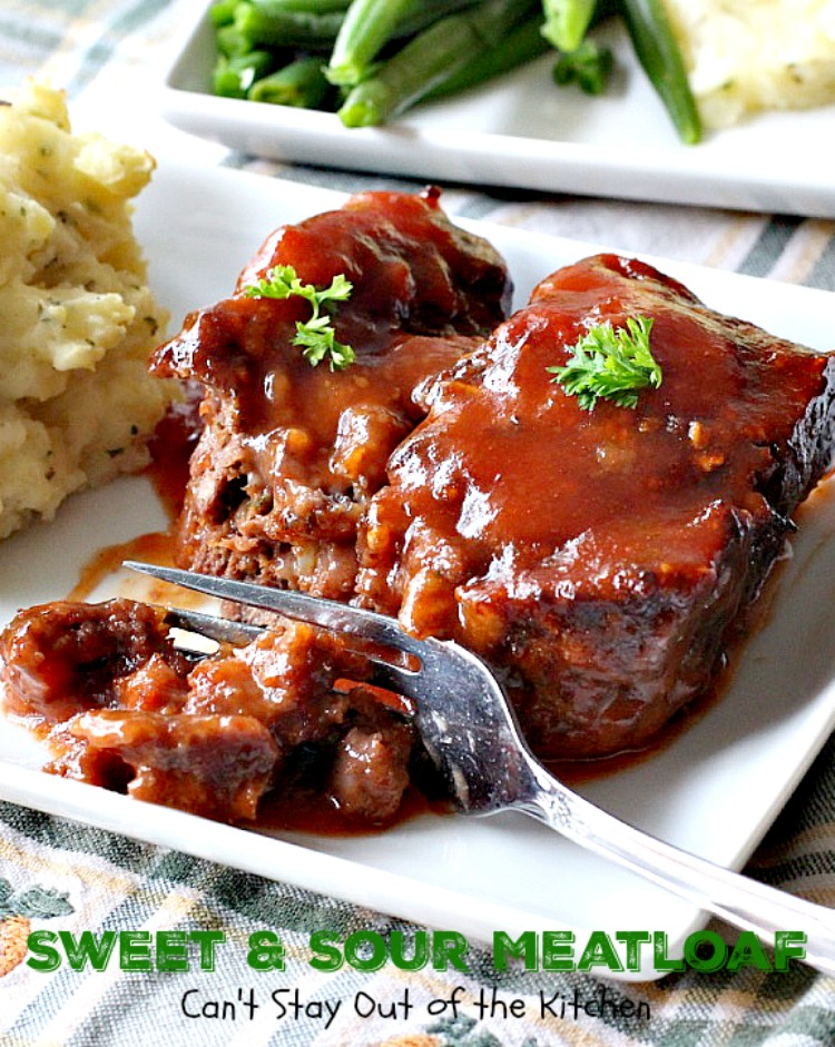 Sweet and Sour Meatloaf | Can't Stay Out of the Kitchen | I used #glutenfree breadcrumbs & honey instead of brown sugar making a healthier, #clean-eating #meatloaf that was delicious. #beef #casserole