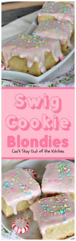 Swig Cookie Blondies | Can't Stay Out of the Kitchen | these blondies are divine! The sour cream icing is spectacular. We loved these #cookies. #dessert