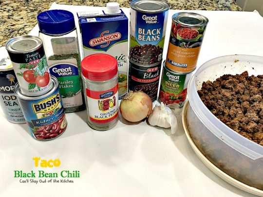 Taco Black Bean Chili | Can't Stay Out of the Kitchen | awesome #chili with a spicy #taco taste & #blackbeans. #glutenfree