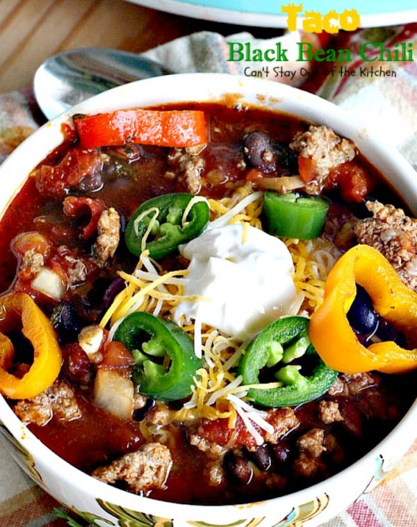 Taco Black Bean Chili   Can't Stay Out of the Kitchen   awesome #chili with a spicy #taco taste & #blackbeans. #glutenfree