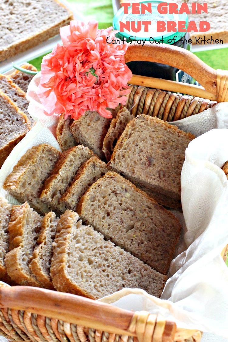 Ten Grain Nut Bread | Can't Stay Out of the Kitchen | this delicious #HomemadeBread is so easy since it's made in the #Breadmaker! It's made with #Pecans & #TenGrainCereal. It has fabulous taste and texture. While this is a great dinner #bread, it's also terrific for #breakfast. #DinnerBread #BreakfastBread #TenGrainNutBread