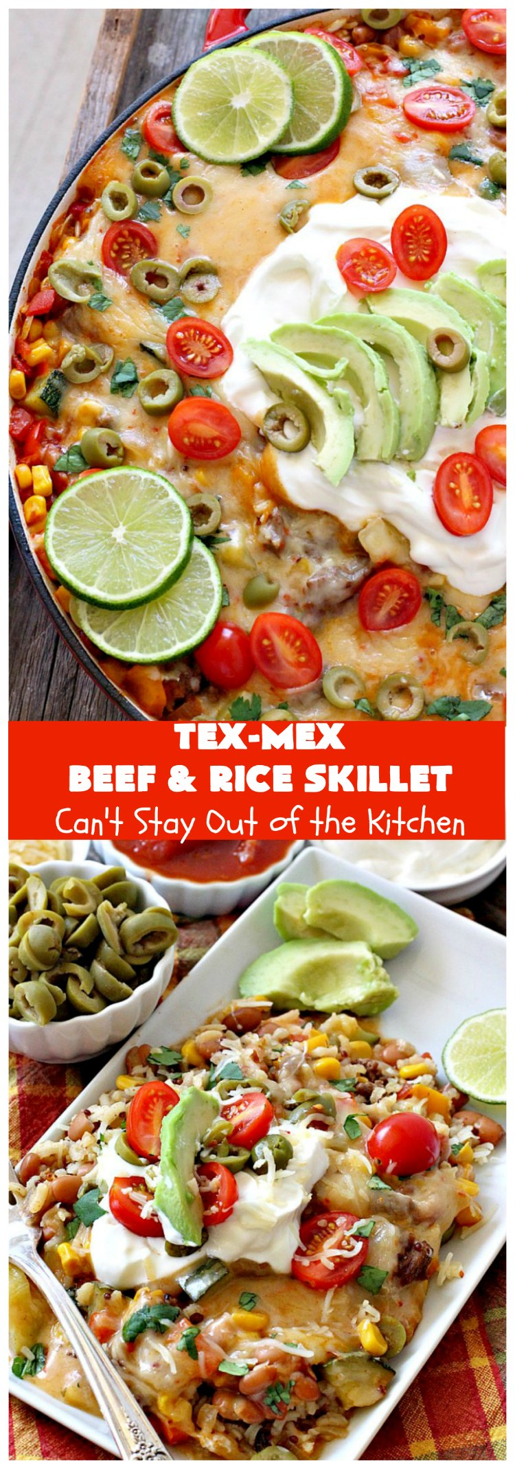 Tex-Mex Beef and Rice Skillet | Can't Stay Out of the Kitchen | this fantastic #TexMex meal takes only   30 minutes to prepare! It's loaded with toppings that add incredible flavor. Filled with healthy veggies, #beans & #rice. #GlutenFree #TexMexBeansAndRiceSkillet