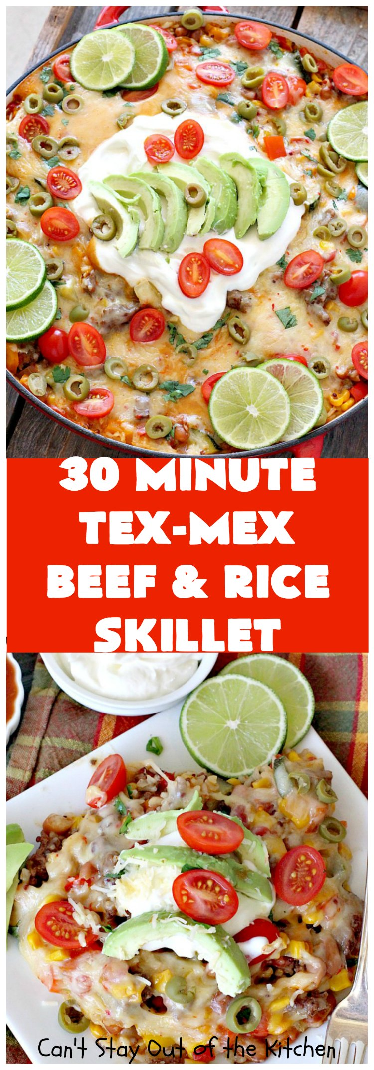 Tex-Mex Beef and Rice Skillet | Can't Stay Out of the Kitchen | this fantastic #TexMex meal takes only 30 minutes to prepare! It's loaded with toppings that add incredible flavor. Filled with healthy veggies, #beans & #rice. #glutenfree