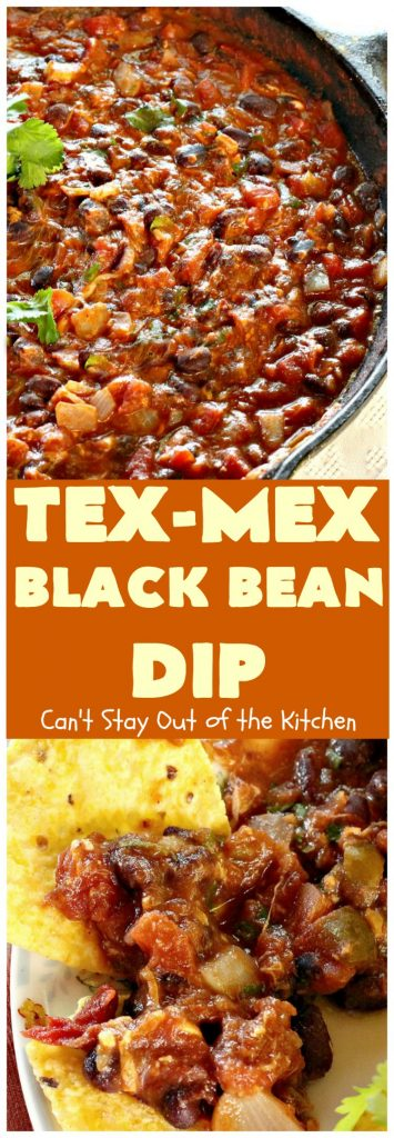 Tex-Mex Black Bean Dip | Can't Stay Out of the Kitchen | this is the best #TexMex dip ever! It's filled with #blackbeans, diced #tomatoes with green chilies & #cheese! Perfect for #holiday gatherings like the #FourthofJuly or #CincodeMayo. #appetizer #glutenfree
