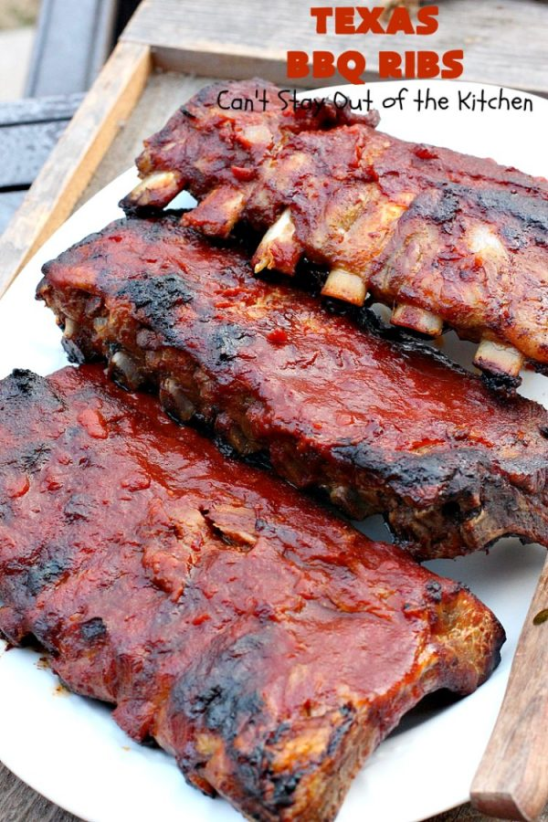 Texas BBQ Ribs | Can't Stay Out of the Kitchen | my Mom's favorite #recipe for #ribs. We love the ease of these #BBQRibs & the tasty homemade #BBQ sauce. #Pork #PorkRibs #SpareRibs #GlutenFree #GlutenFreePorkRibs #TexasBBQRibs