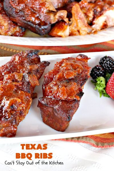 Texas BBQ Ribs | Can't Stay Out of the Kitchen | Mom's #pork #ribs have always been a family favorite. These ribs slow bake in the oven with a fantastic homemade #BBQ sauce. Perfect for company.