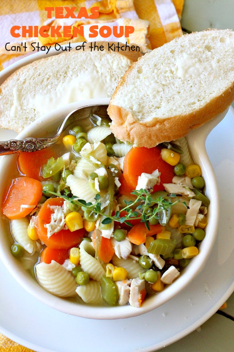 Texas Chicken Soup | Can't Stay Out of the Kitchen | this is a fabulous take off on #ChickenSoup with a little bit of #Texas #HotSauce thrown in to spice it up. Terrific comfort food meal for the fall. #chicken #soup #carrots #corn #noodles #peas #pasta #GreenBeans #TexasChickenSoup
