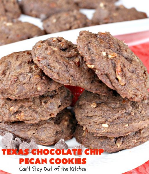 Texas Chocolate Chip Pecan Cookies | Can't Stay Out of the Kitchen | these luscious #chocolate #cookies are filled with #ChocolateChips & #pecans. Terrific for #tailgating parties, potlucks, backyard barbecues & summer #holiday fun. #dessert #ChocolateDessert #Texas #TexasDessert #TexasChocolateChipPecanCookies