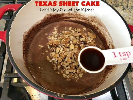 Texas Sheet Cake | Can't Stay Out of the Kitchen | this #ChocolateFudgeCake is divine! It's so chocolaty, so fudgy that you won't want to stop eating it! Perfect #dessert for #tailgating parties, potlucks or #holidays like #Easter or #MothersDay since it makes 48 servings! #cake #chocolate #fudge #walnuts #TexasSheetCake #SheetCake #ChocolateFudgeSheetCake