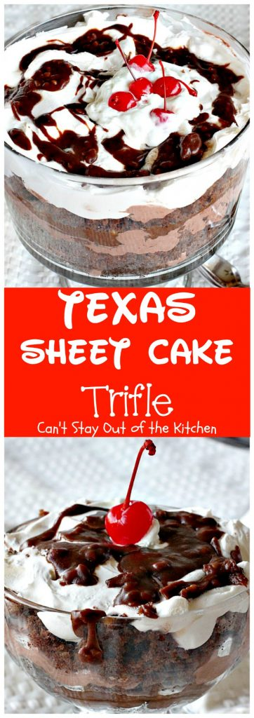 Texas Sheet Cake Trifle | Can't Stay Out of the Kitchen | This spectacular #dessert is divine! Uses #TexasSheetCake plus the #chocolate #pecan icing and a chocolate pudding layer in a trifle dish with #CoolWhip and #maraschinocherries. Amazing.