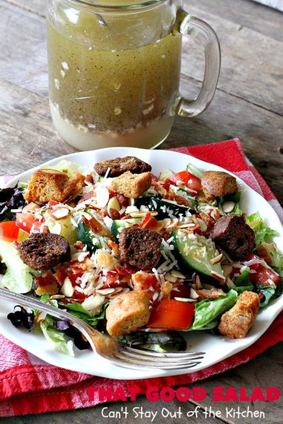 That Good Salad | Can't Stay Out of the Kitchen | this fantastic #salad is a winner. It's made with #bacon, #Swisscheese, #parmesan #cheese, #almonds & #Caesar croutons. It's terrific for company. Also great as a #maindish salad.