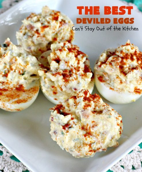 The BEST Deviled Eggs   Can't Stay Out of the Kitchen   my Mom's fabulous recipe. These have a secret ingredient: #bacon! Perfect for the #FourthofJuly & other #holiday fun. #eggs #glutenfree