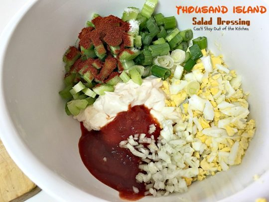 Thousand Island Salad Dressing | Can't Stay Out of the Kitchen | fantastic homemade #saladdressing that's perfect for any #salad. It's great to use as a dip as well. #glutenfree