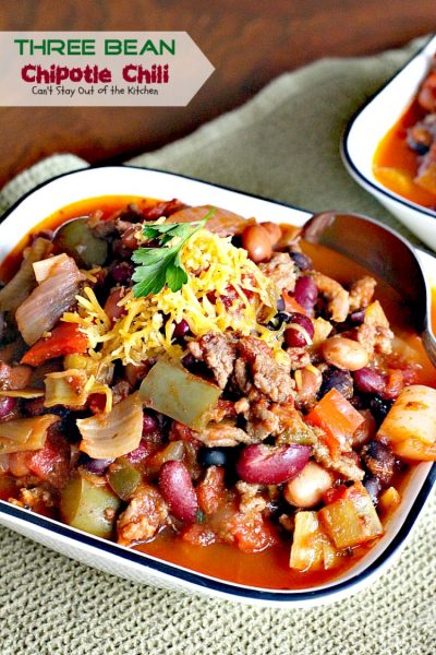 Three Bean Chipotle Chili | Can't Stay Out of the Kitchen | this fabulous #chili is great for #tailgating parties, yet it's healthy, #clean-eating & #glutenfree. Uses three kinds of #beans and lean #groundbeef. #chipotlepeppers in Adobo Sauce makes it sizzle! #soup