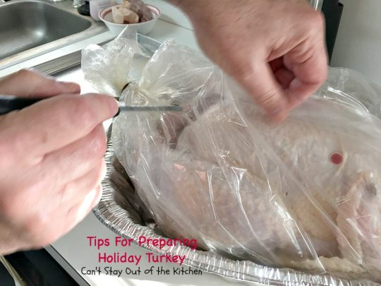 Tips For Preparing Holiday Turkey | Can't Stay Out of the Kitchen | Step-by-step directions and pictures for preparing a #turkey for the #holidays. This method is incredibly easy for even a beginning cook.